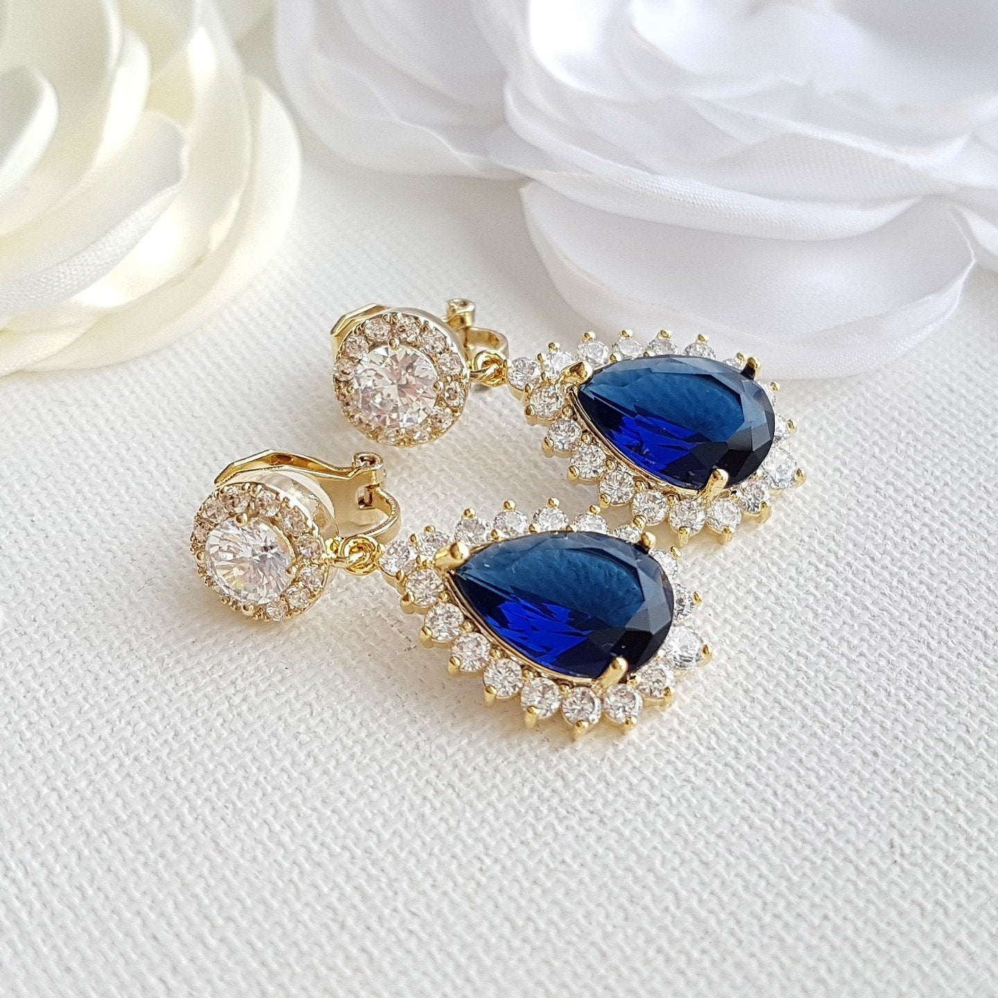 Sapphire Blue Clip On Bridal Earrings-Aoi