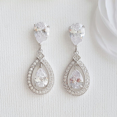 Silver Crystal Drop Bridal Earrings- Sarah