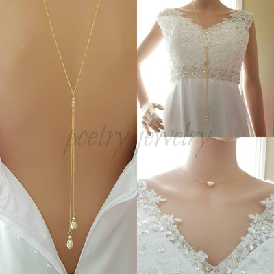 Gold Back Necklace With Chain & Pearl Drops-June
