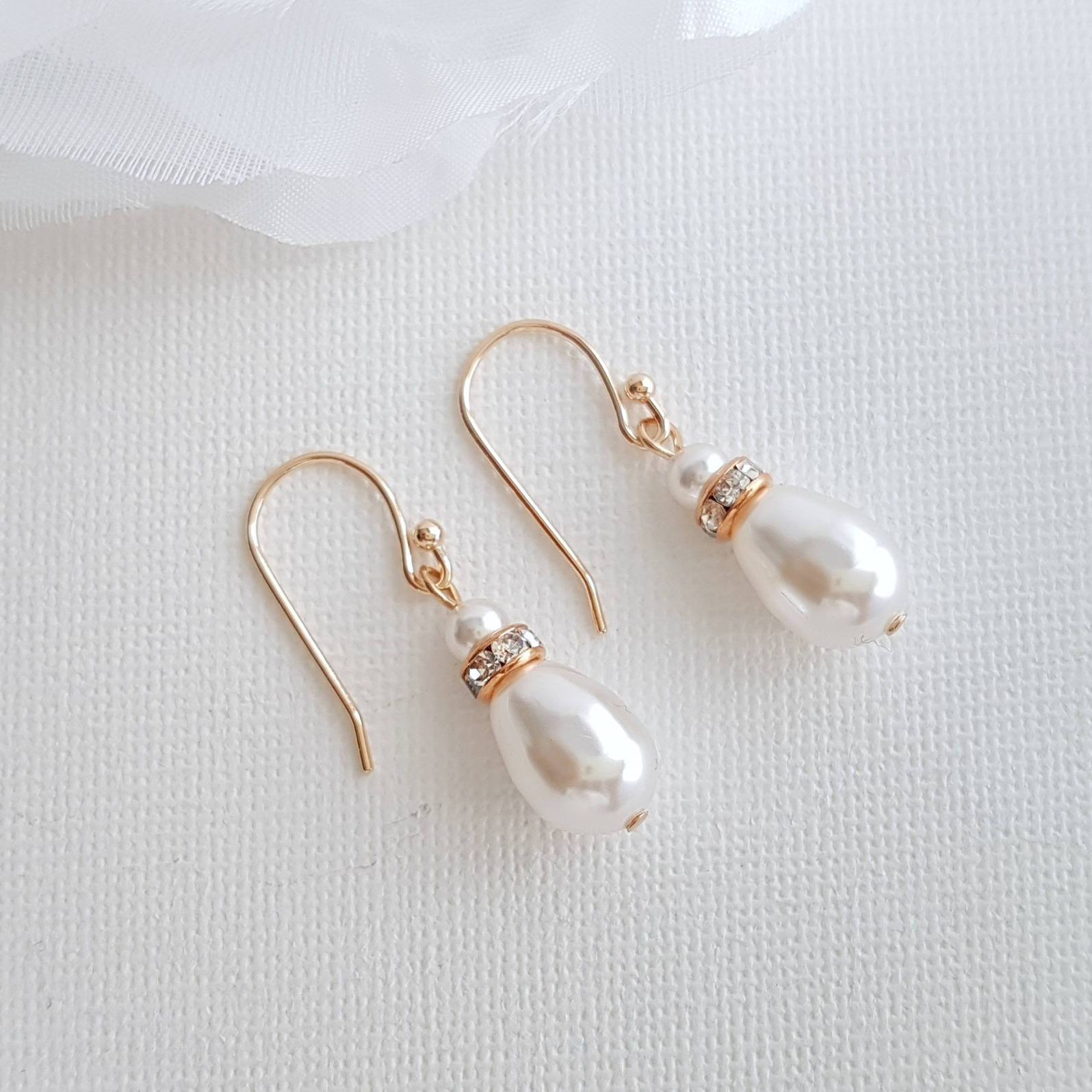 Simple Drop Earrings in Rose Gold for Weddings- June - PoetryDesigns