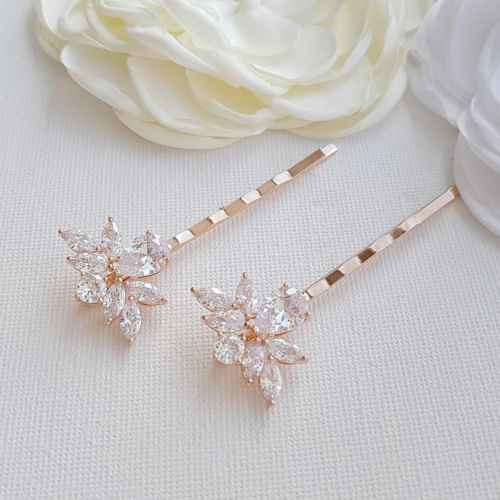 Gold Bridal Crystal Hair Pins- Nicole - PoetryDesigns