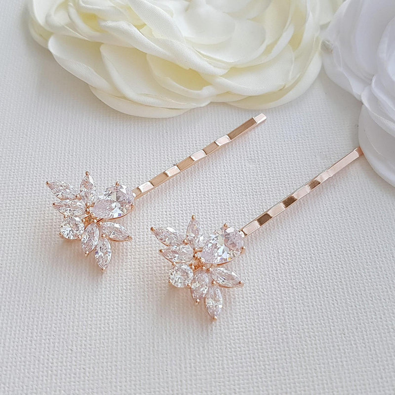 Gold Bridal Crystal Hair Pins- Nicole