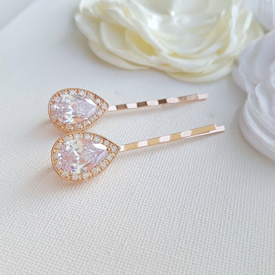 Bridal Hair Pins Rose Gold- Evelyn
