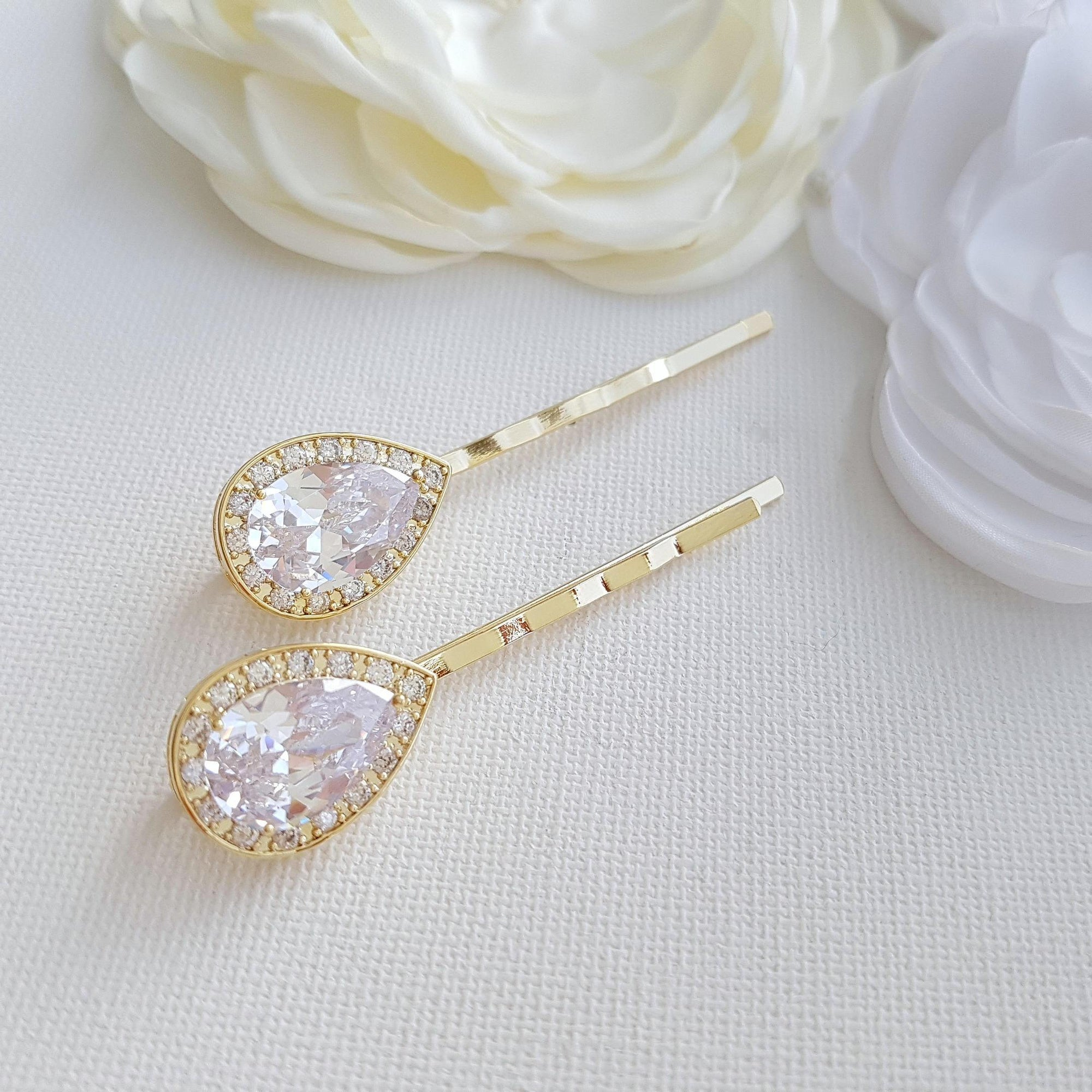 Gold Bridal Hair Pins- Evelyn - PoetryDesigns