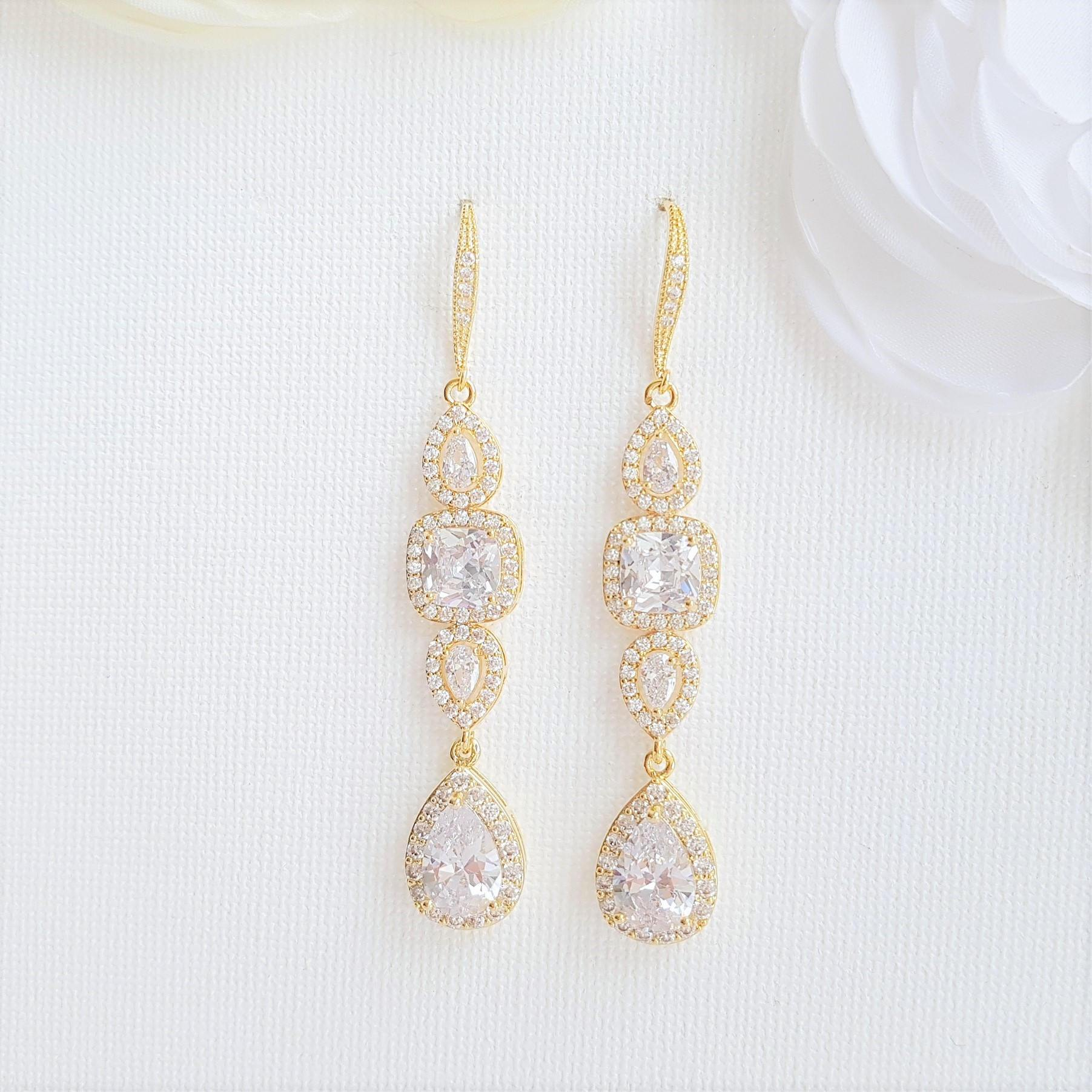 Gold Drop Earrings Weddings- Gianna - PoetryDesigns