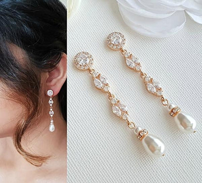 Rose Gold Clip On Pearl Earrings