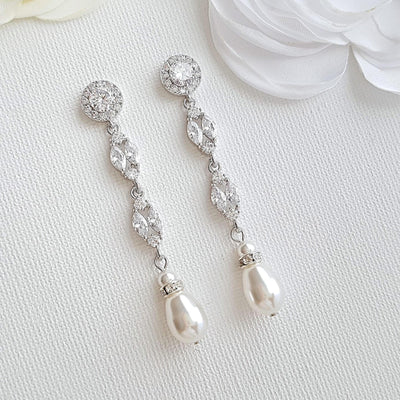 Pearl and Crystal Clip On earrings