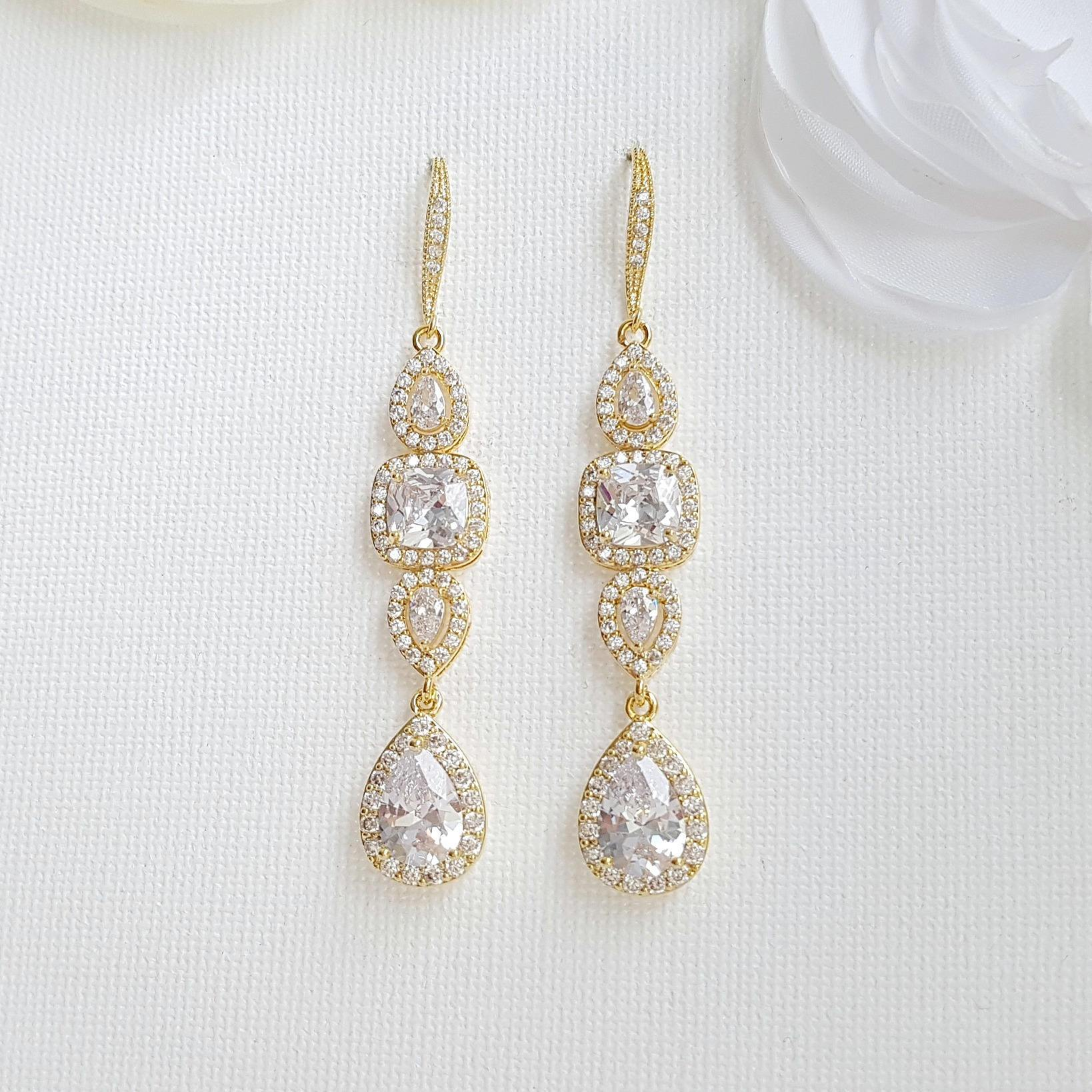 Gold Drop Earrings Weddings- Gianna