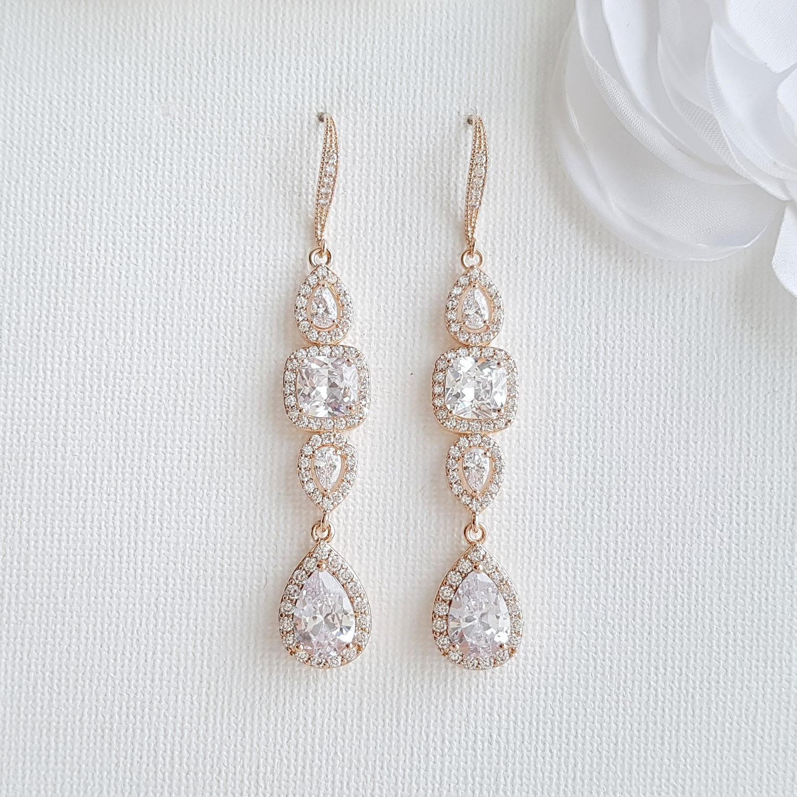 Bridal Dangle Drop Earring Rose Gold-Gianna - PoetryDesigns