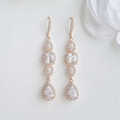 Bridal Dangle Drop Earring Rose Gold-Gianna