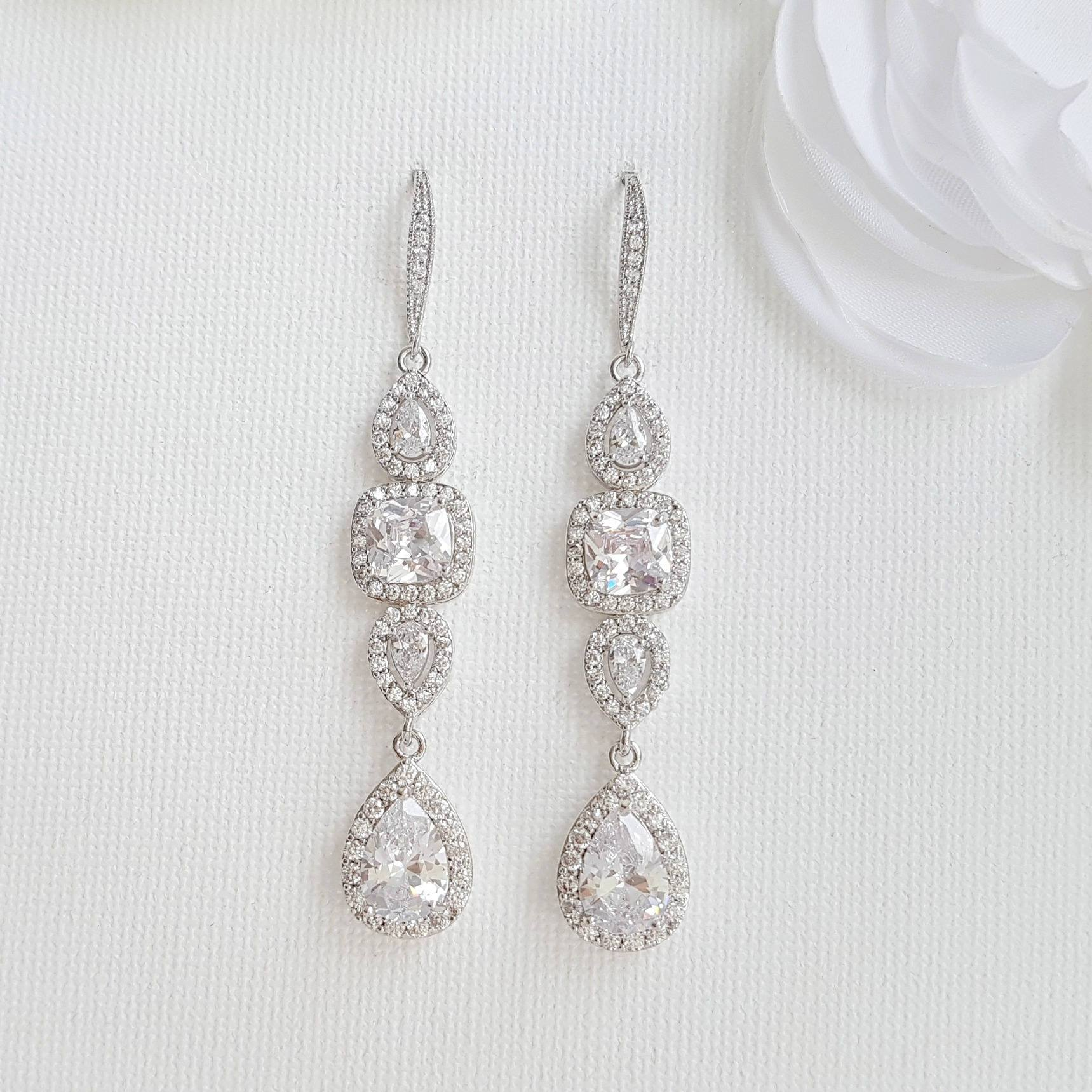 Cubic Zirconia Drop Earrings for Weddings- Gianna - PoetryDesigns