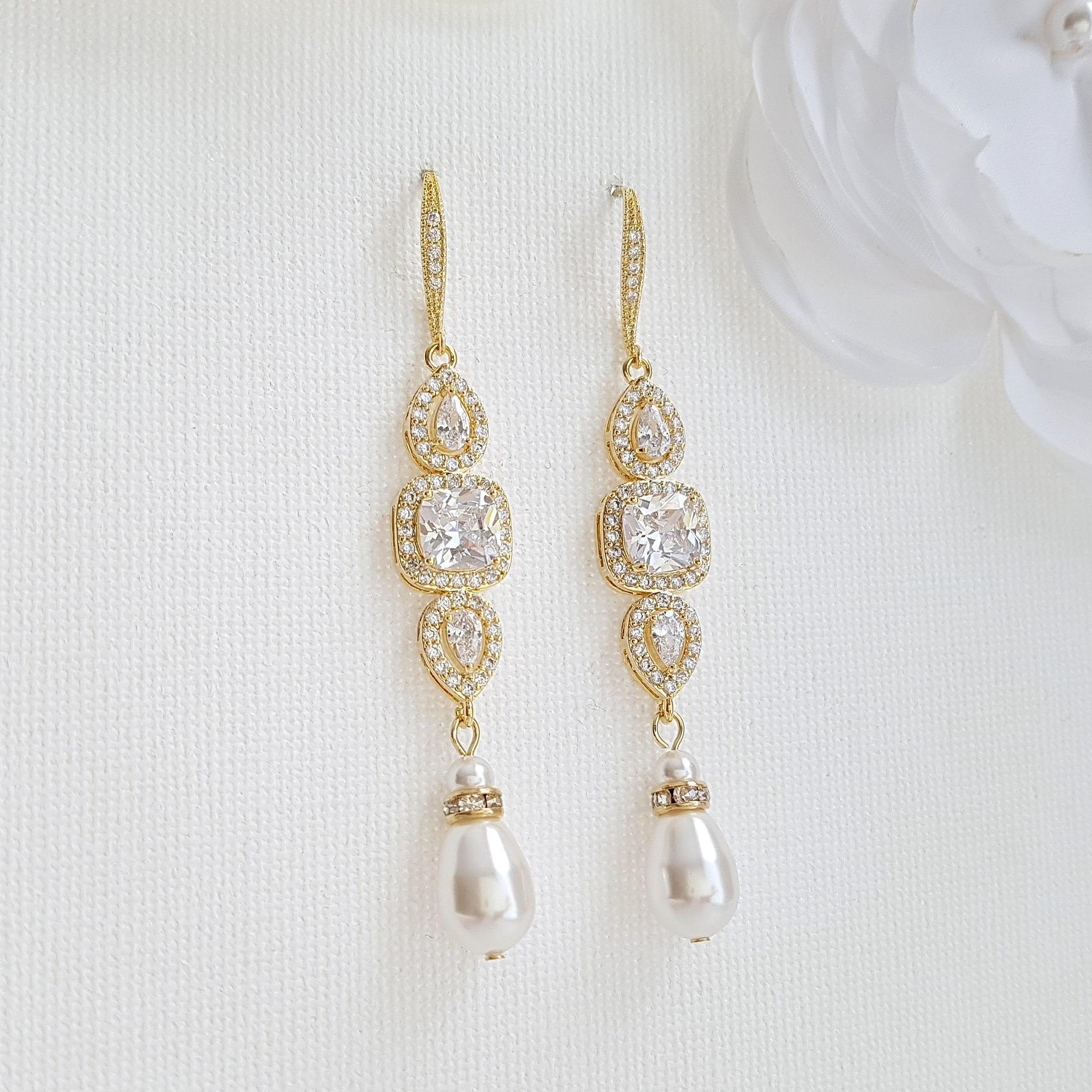 Gold Pearl Bridal Earrings- Gianna - PoetryDesigns