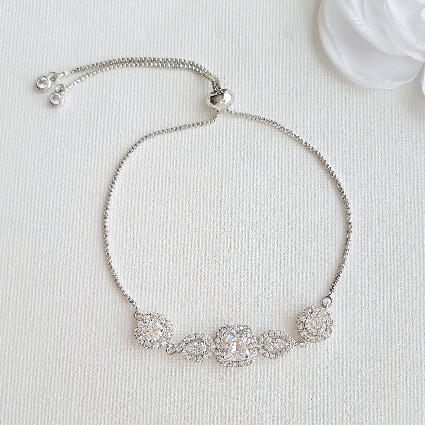 Bridal Bracelet Rose Gold Crystal Wedding Bracelet Cushion Cut Halo