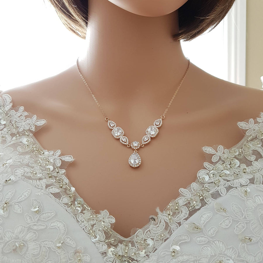 Rose Gold Crystal Backdrop Necklace- Gianna