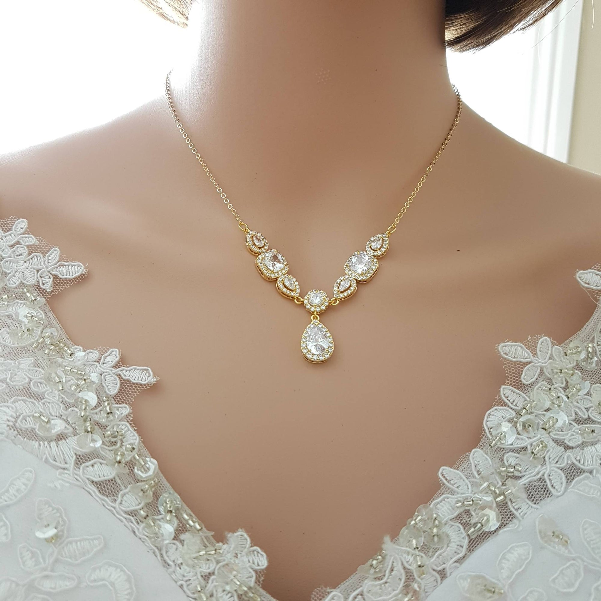 Gold and Cubic Zirconia Back Necklace for Low Back Dresses-Gianna - PoetryDesigns
