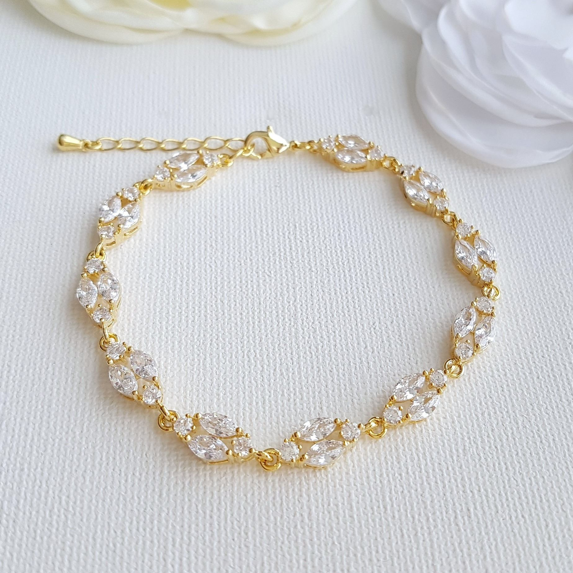 Gold Crystal Wedding Bracelet Rose Gold Bridal Bracelet Marquise CZ Bracelet Gold Tennis Bracelet Wedding Bridal Jewelry, Hayley