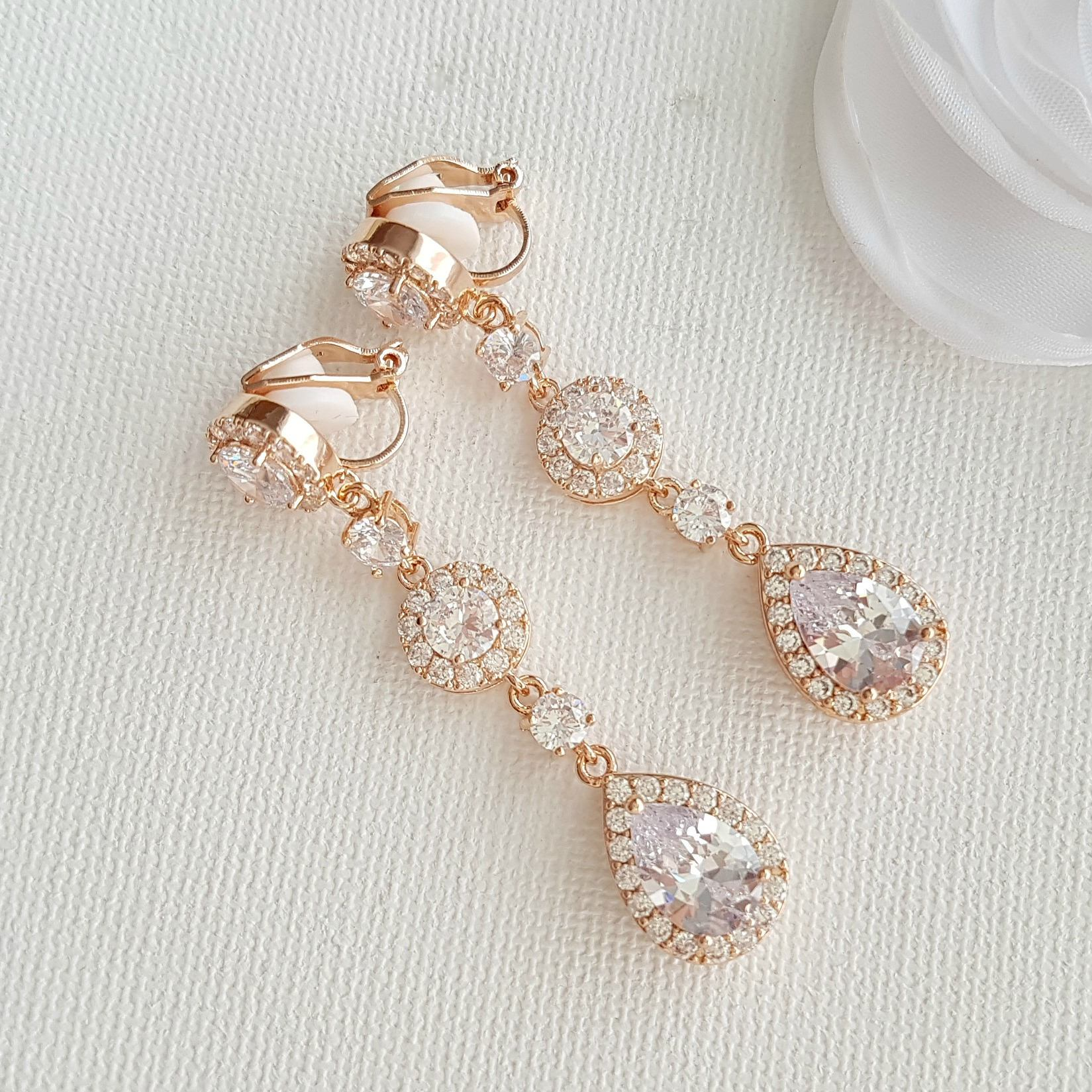 Rose Gold Clip On Earrings