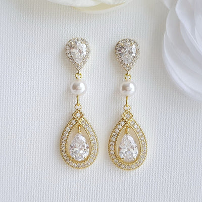 Clip On Wedding Earrings-Sarah