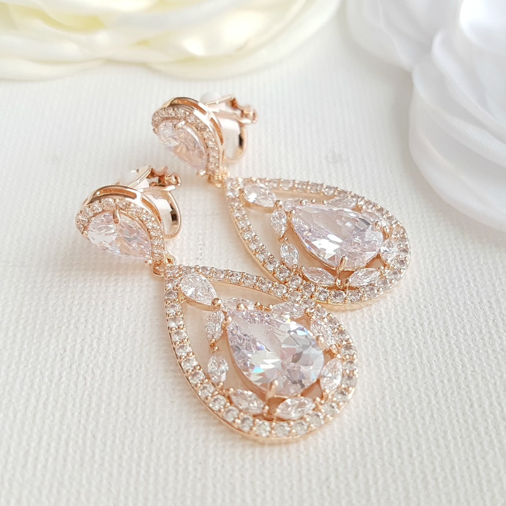 Rose Gold Clip On Earrings for Brides with Non Pierced Ears-Esther