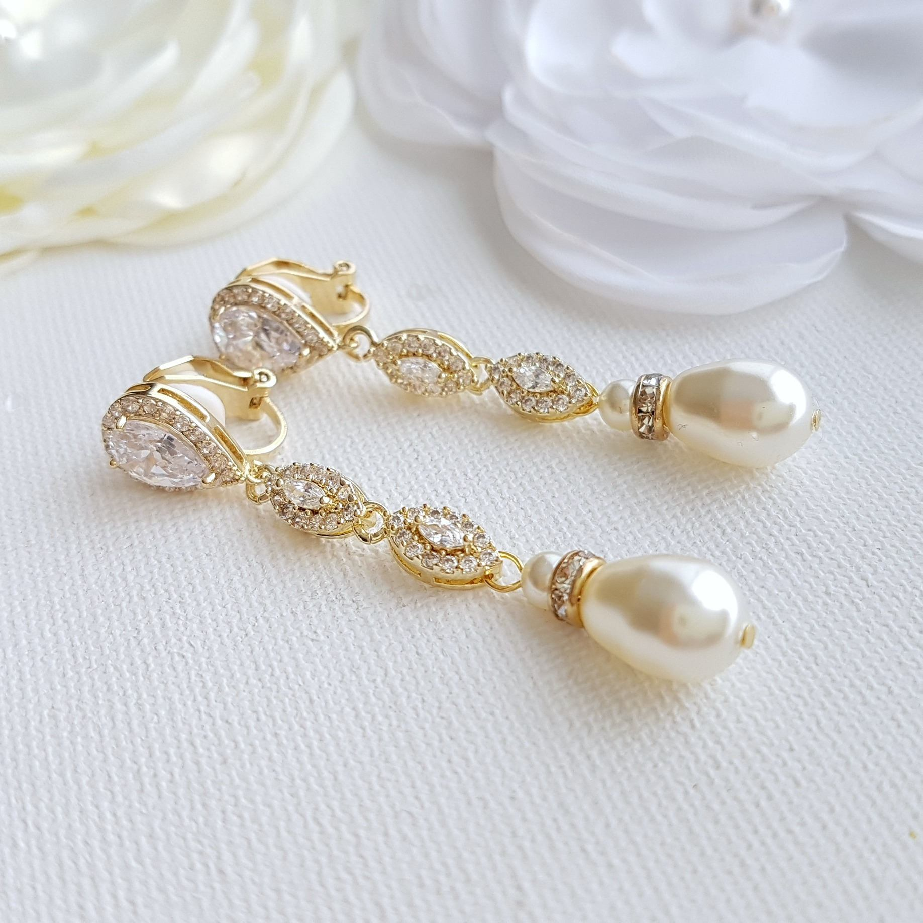 Gold Clip On Bridal Earrings-Abby
