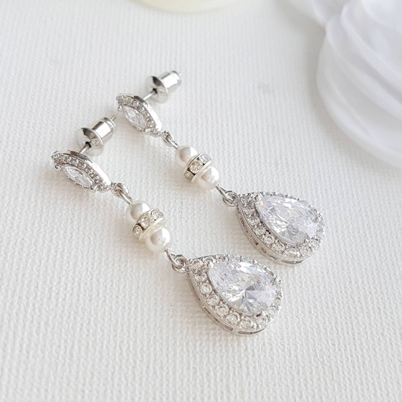Teardrop Crystal Bridal Earrings Wedding Drop Earrings Bridesmaid Swarovski Pearls Silver Earrings For Brides CZ Bridal Jewelry, Ella