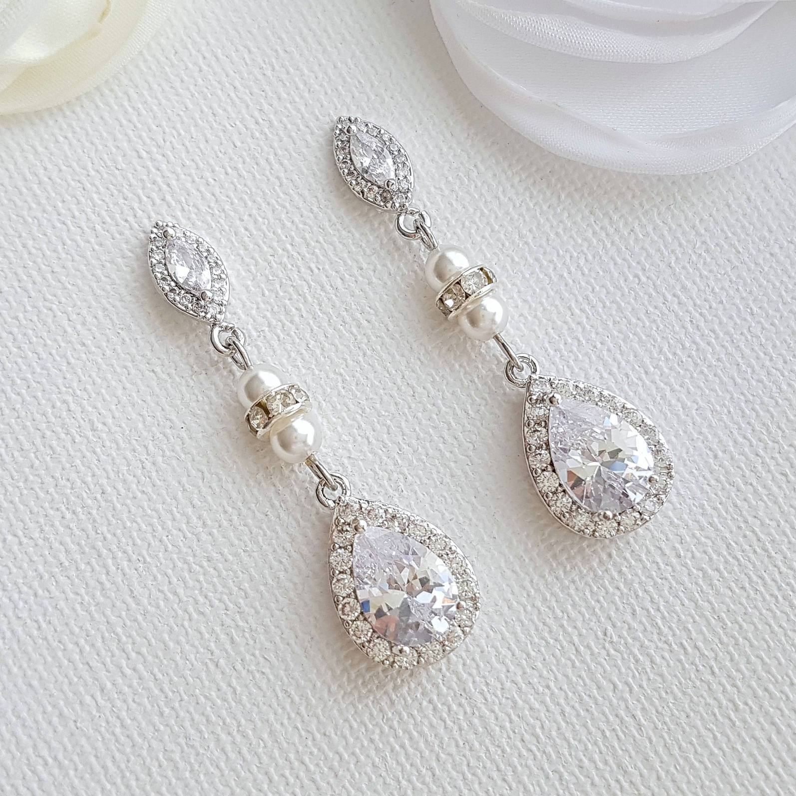 CZ & Pearl Wedding Drop Earrings for Brides-Ella