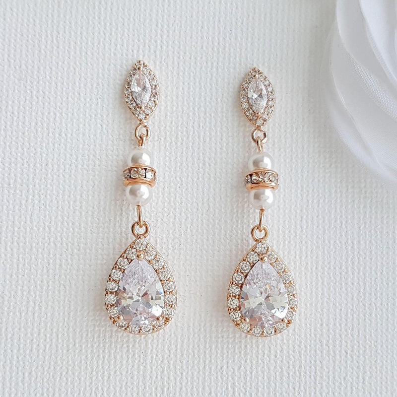 Rose Gold Bridesmaids & Wedding Drop Earrings-Ella