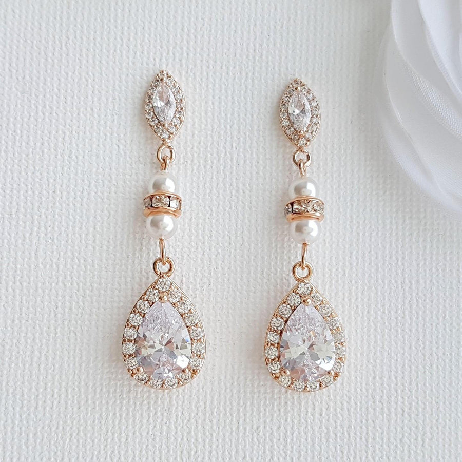 Crystal Rose Gold Bridal Earrings Bridesmaid Earrings Drop Wedding Earrings Swarovski Pearls CZ Earrings Wedding Jewelry, Ella