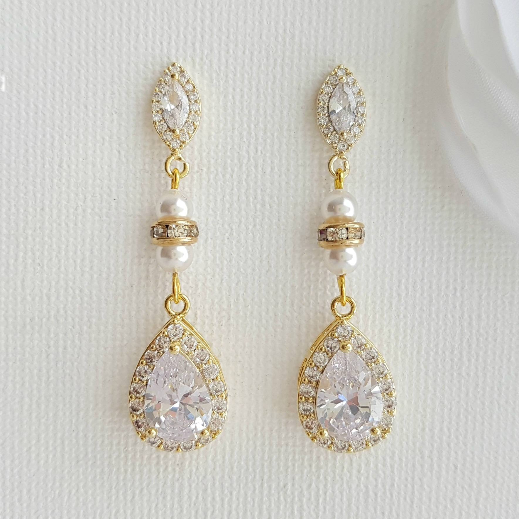 Gold and Pearl Wedding Drop Earrings-Ella