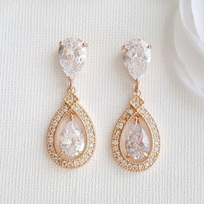 Rose Gold Crystal Drop Earrings- Sarah
