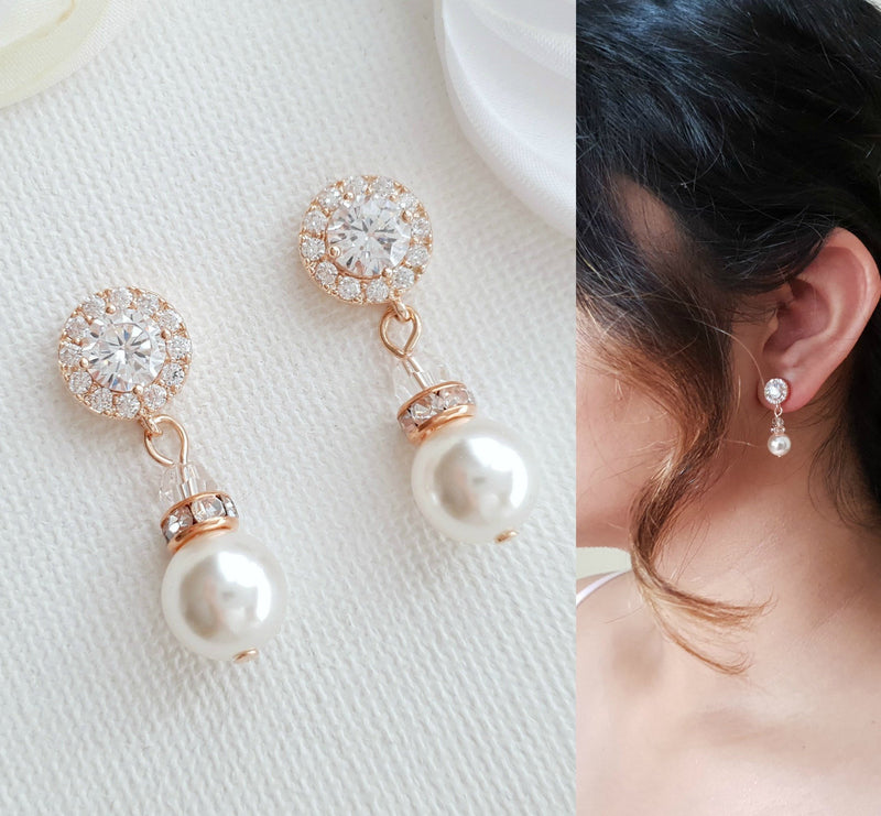 Simple Gold Pearl Earrings- Bronte