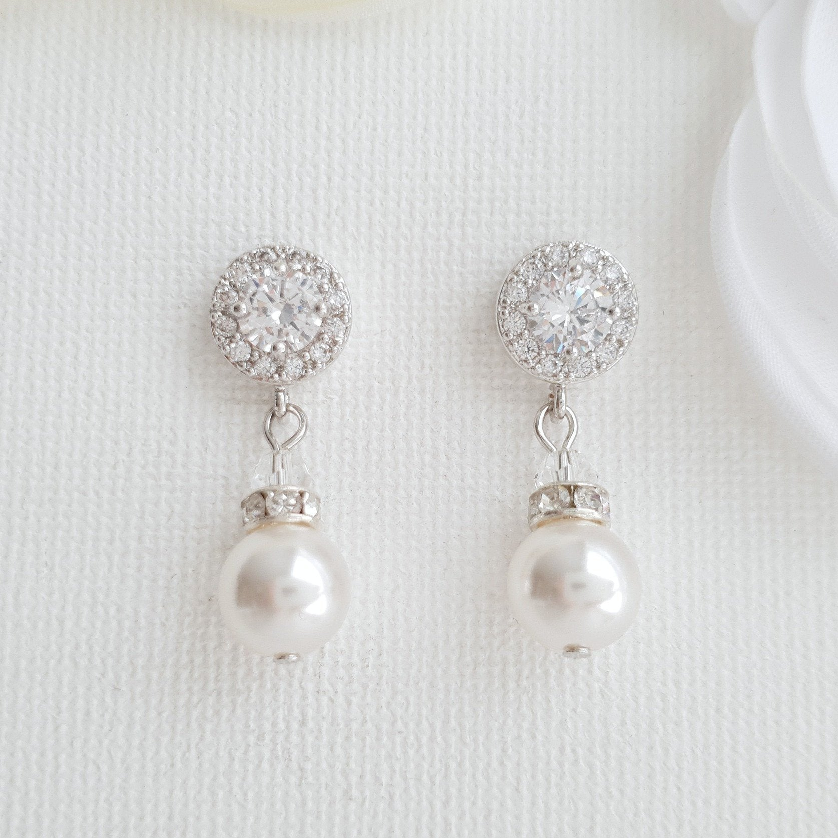 4a5c4590e Silver Pearl Drop Earrings for Bridesmaids & Flower Girls- Bronte ...