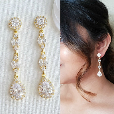 Long Gold Earrings- Hayley