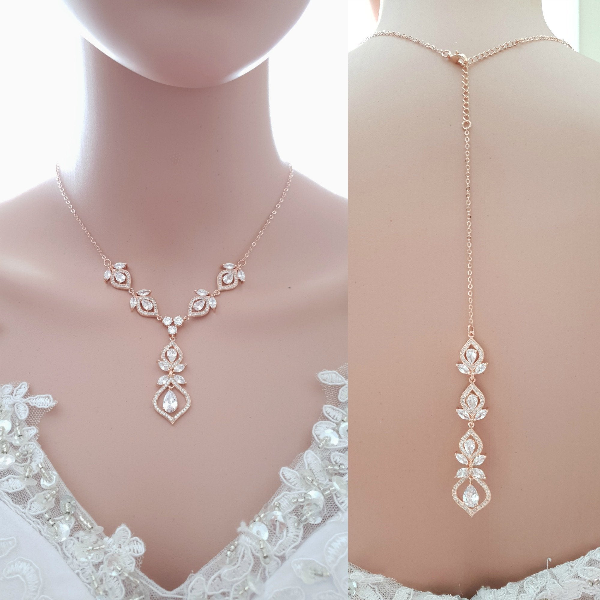 Back Necklace Rose Gold Bridal Necklace Crystal Wedding Necklace Gold Back Drop Necklace Backdrop Necklace for Brides Bridal Jewelry Meghan