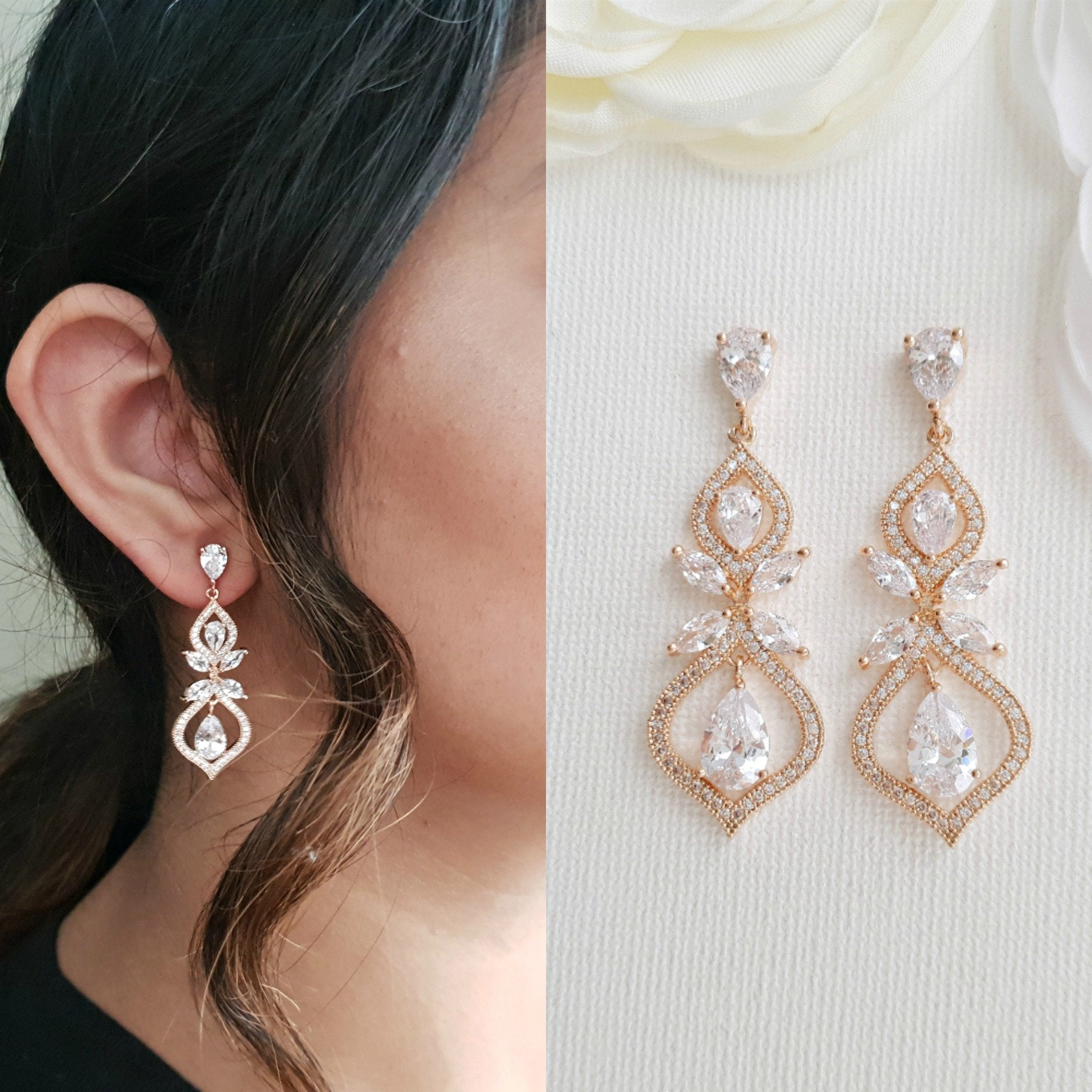 Wedding Earrings for Brides Rose Gold- Meghan - PoetryDesigns