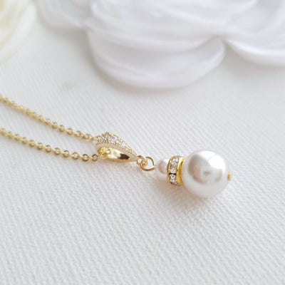 Gold Necklace with Single Pearl- Ava