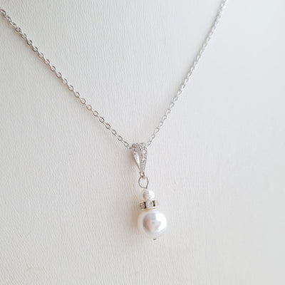 Silver Bridesmaid Pearl Necklace- Ava