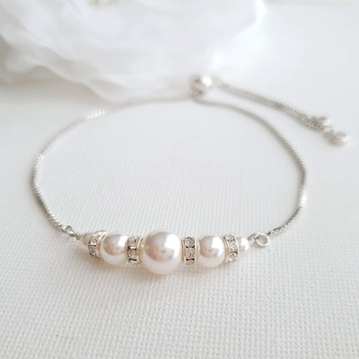 Silver pearl Bracelet for Brides & Bridal Party