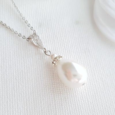 Teardrop Pearl Necklace, Bridal Jewelry, Pearl Wedding Necklace, Simple Pearl Pendant Necklace, Bridesmaid Necklace, Penelope