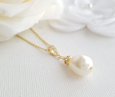 simple gold pearl necklace for weddings- Poetry Designs
