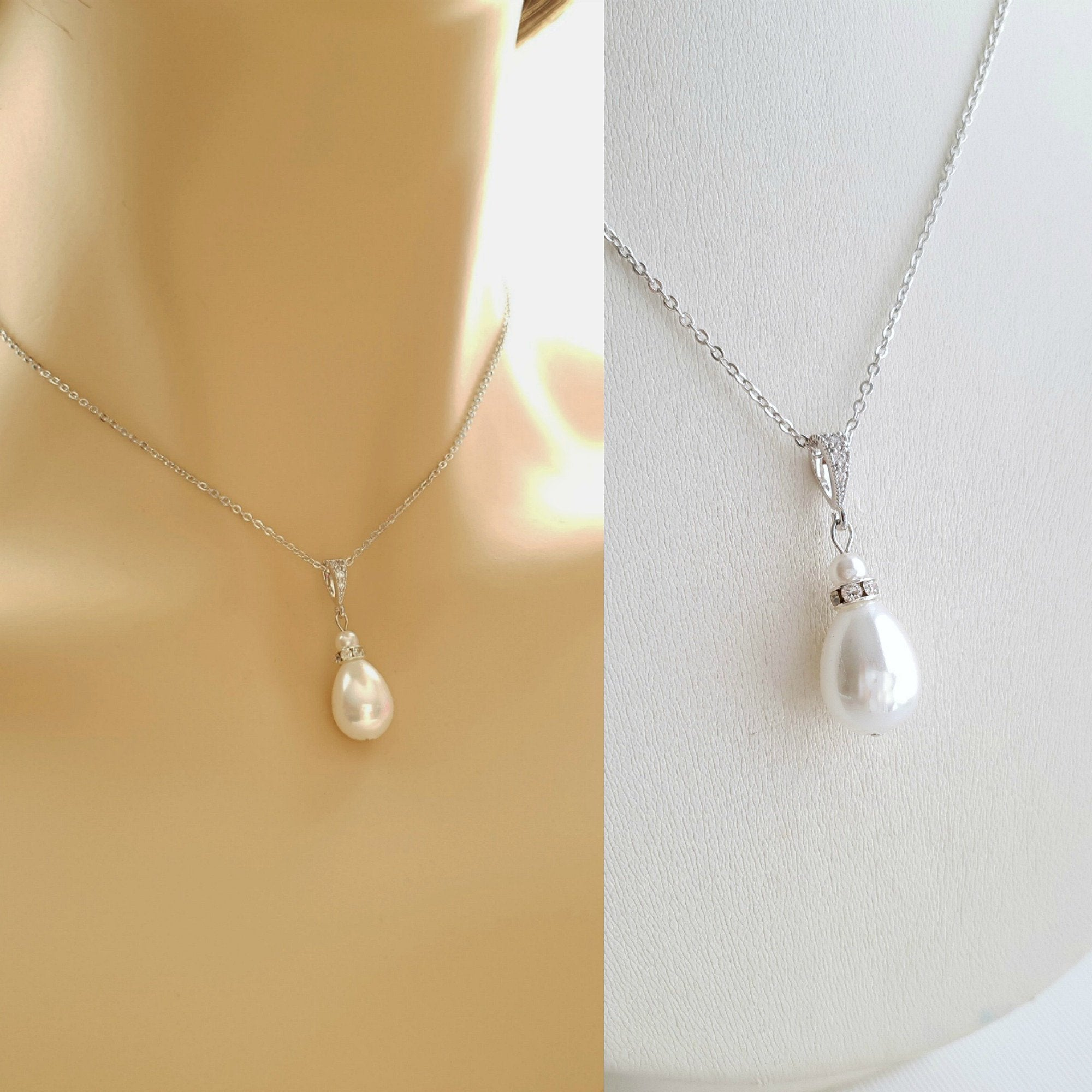 pearl wedding necklace for brides, bridesmaids, weddings- Poetry Designs