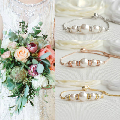 Silver, Gold & Rose Gold Pearl Bracelet for Brides