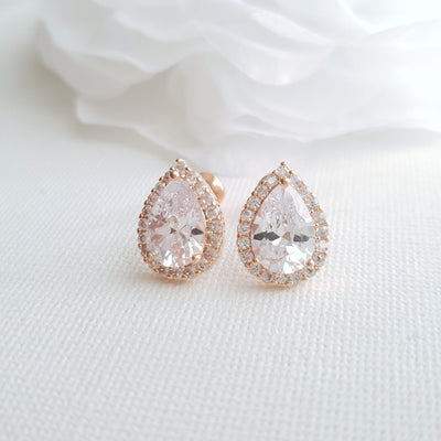 Rose Gold Teardrop Stud Earrings- Emma