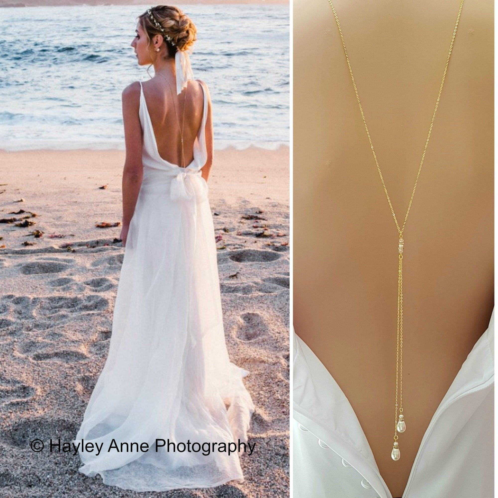 Gold Back Necklace With Chain & Pearl Drops-June - PoetryDesigns