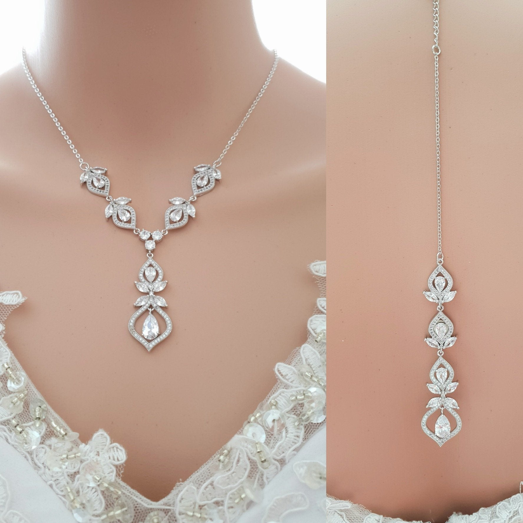 Bridal Backdrop Necklace- Meghan - PoetryDesigns