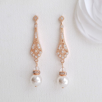 Vintage Round Pearl Drop Earrings-Lisa