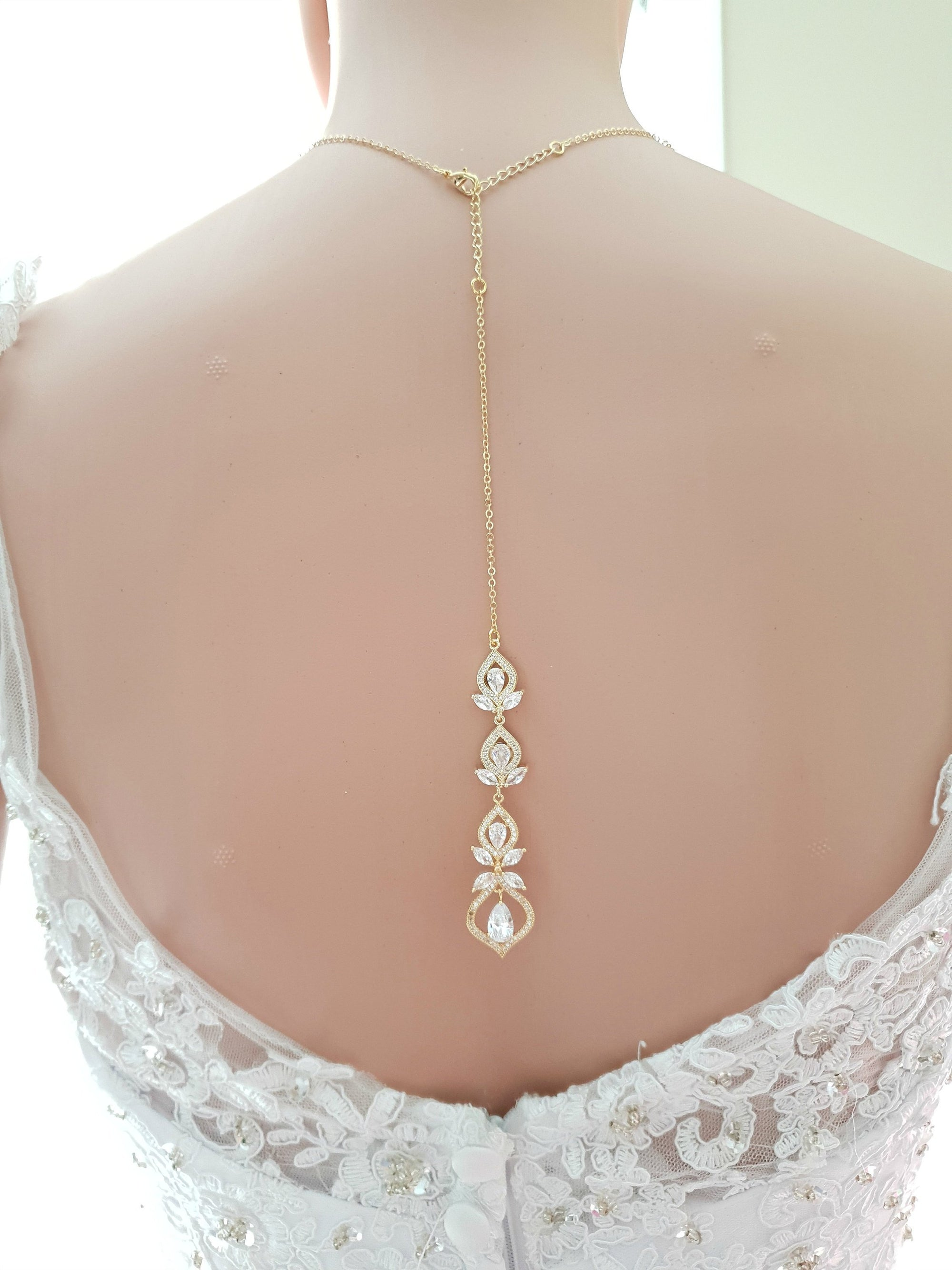 Crystal Gold Wedding Necklace & Back Jewelry-Meghan - PoetryDesigns