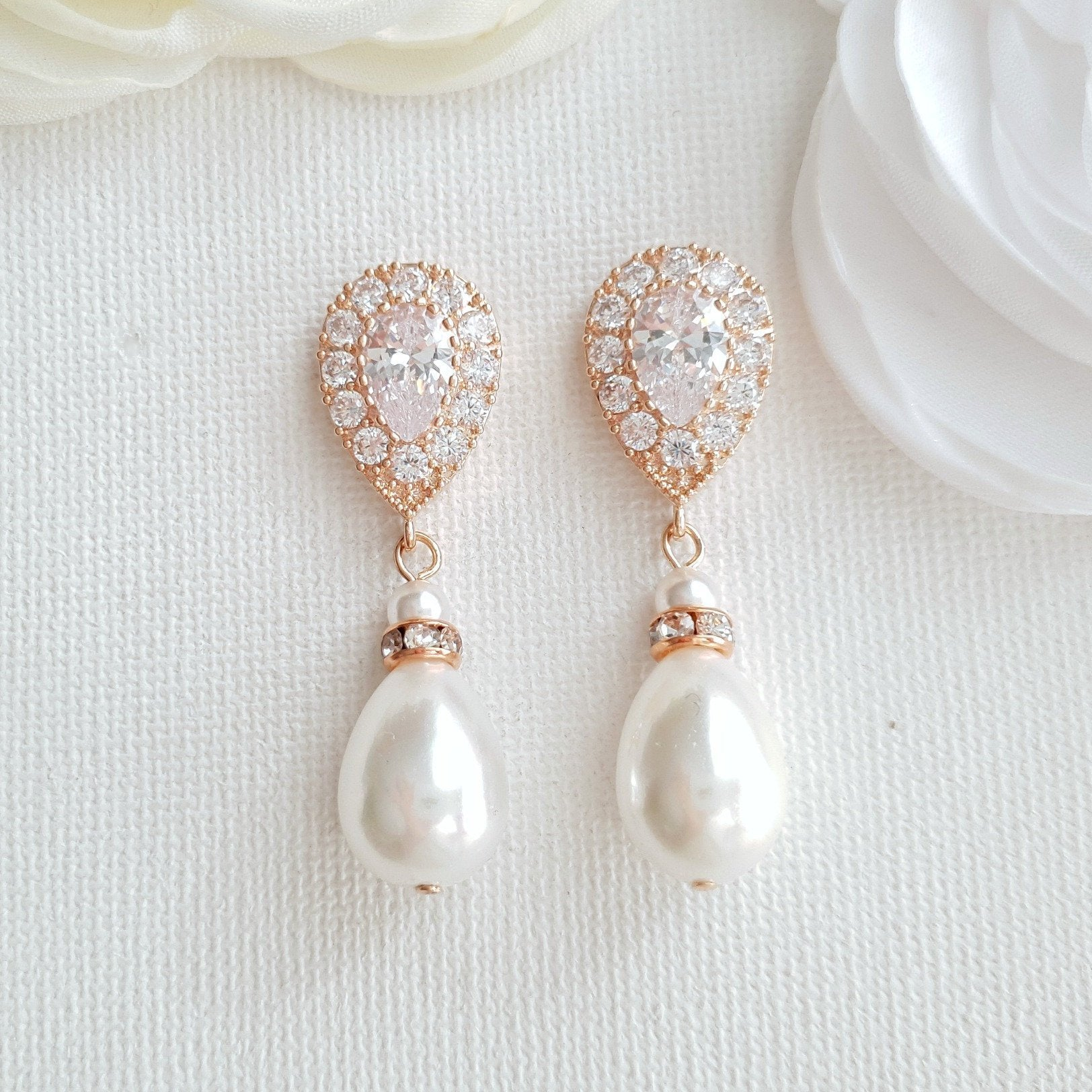 Rose Gold Pearl Drop Earrings-Penelope - PoetryDesigns