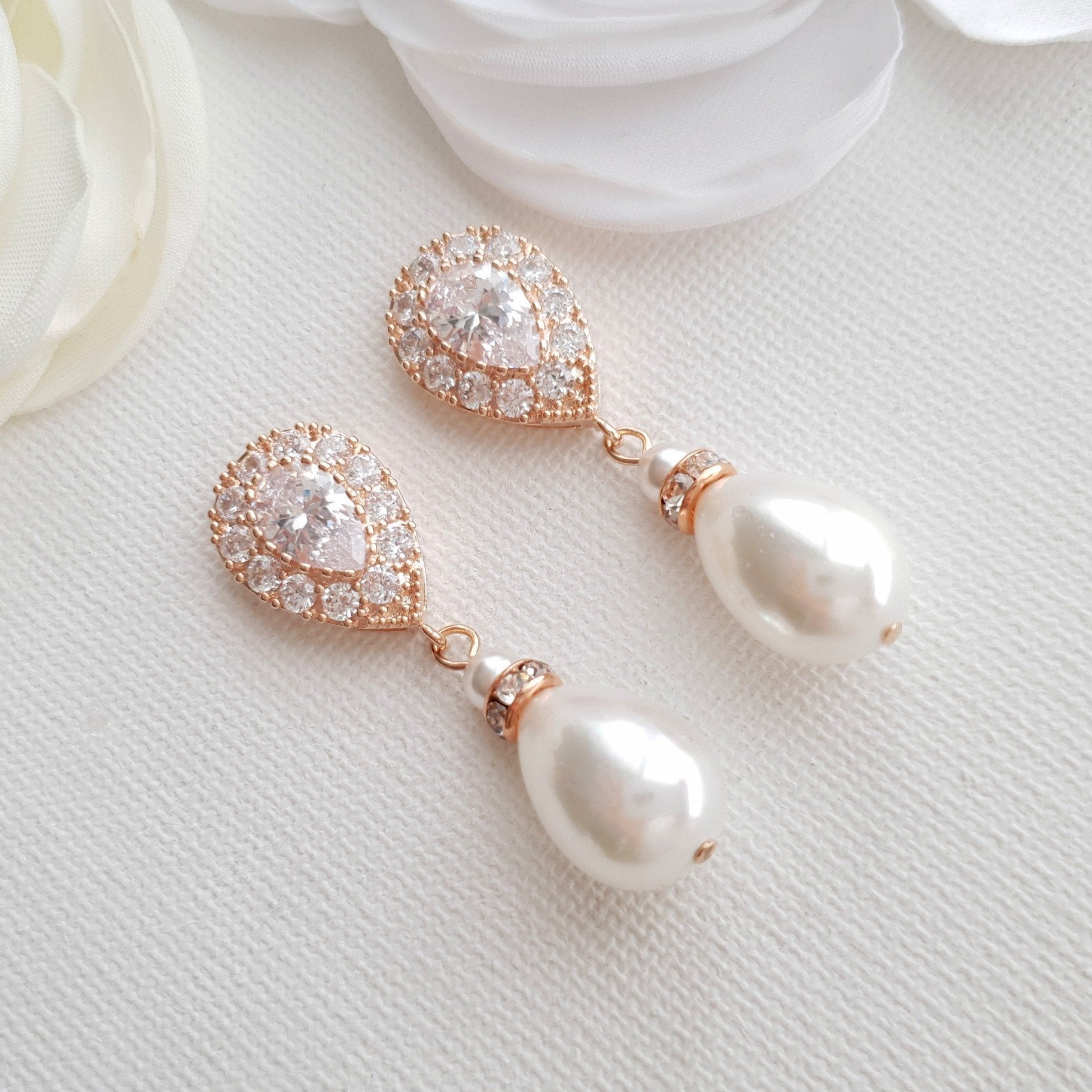 Rose Gold Pearl Drop Earrings-Penelope