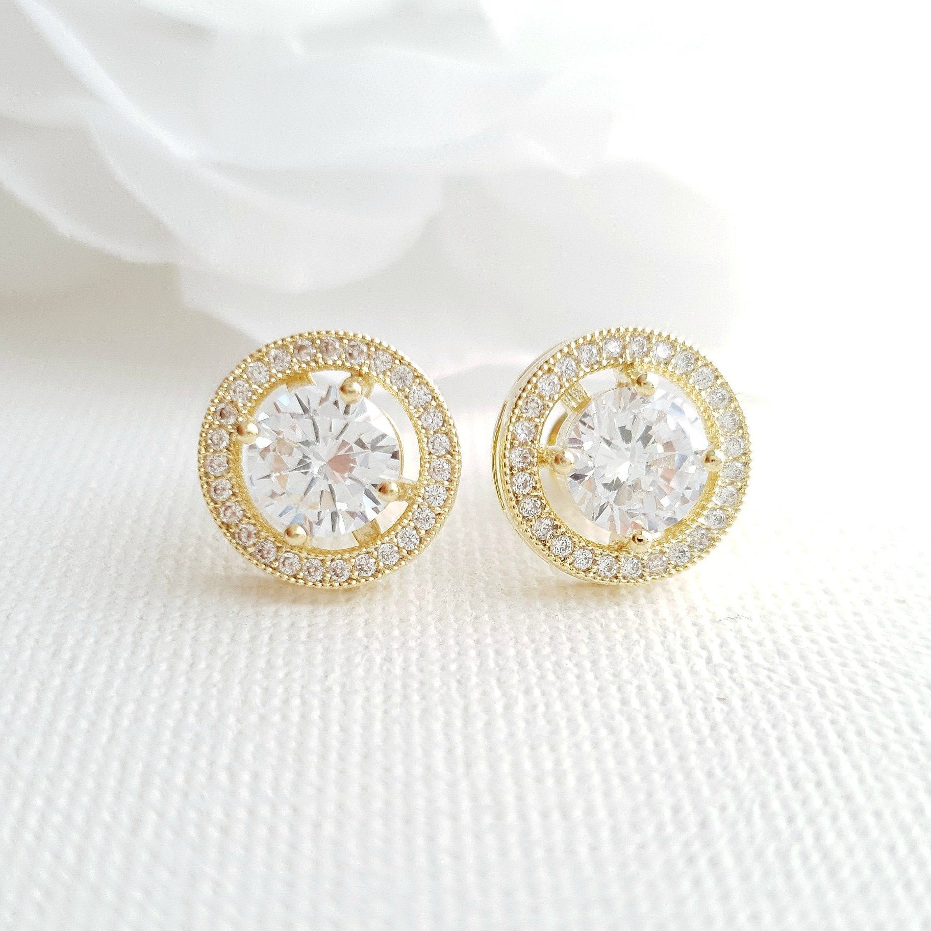 Gold Round Stud Earrings in Cubic Zirconia- Denise